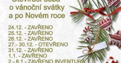 Otevírací doba o Vánocích a po Novém roce