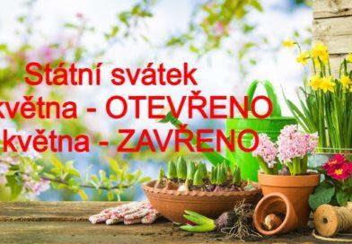 Otevírací doba státní svátky květen